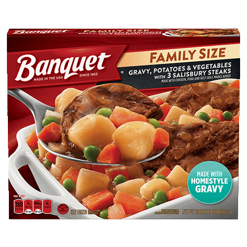 Family Size Gravy, Potatoes and Vegetables with Salisbury Steak